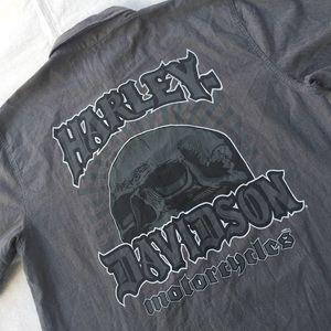 Harley Davidson Gray pinstripe button down shirt
